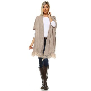 White Mark Women's Beige Acrylic Knit Long Cardigan