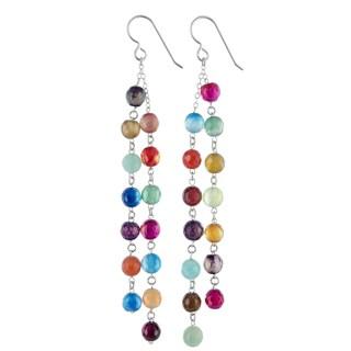 Multi Agate Gemstone Cascading Chandelier Sterling Silver Handmade Earrings. Ashanti Jewels
