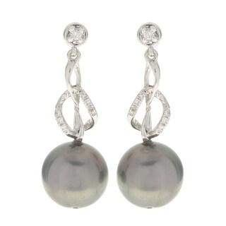 Pearls For You 14k White Gold Tahitian Pearl and Diamond (H-I, I2-3) Dangle Earrings