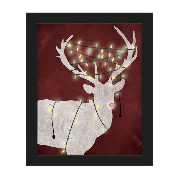 christmas light rudolph red framed canvas wall art