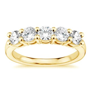 18k Yellow Gold 1ct TDW White Diamond Shared Prong Five Stone Wedding Ring (G-H, SI1-SI2)