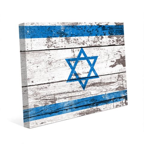 Flag of Israel Planked Canvas Wall Art