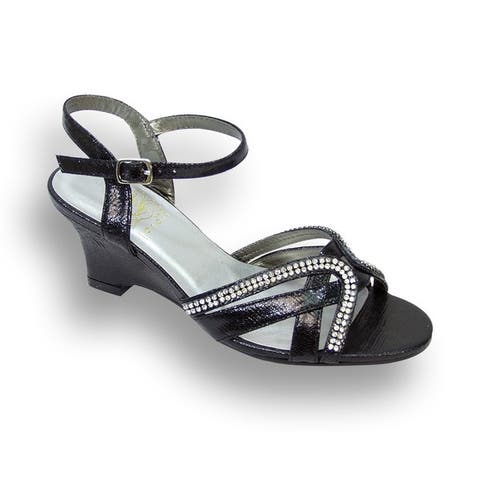 FIC Floral Womens Leah Black Faux Leather Extra-wide Sandal