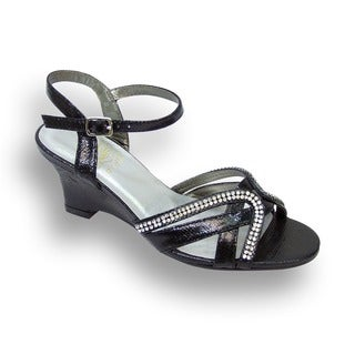 FIC Floral Women's Leah Black Faux Leather Extra-wide Sandal