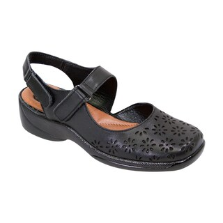 FIC Peerage Women's Kylie Black Nappa Leather Extra-wide Slingback Shoes (More options available)