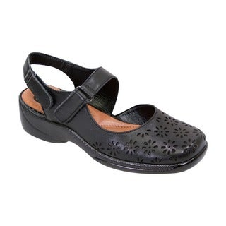 FIC Peerage Women's Kylie Black Nappa Leather Extra-wide Slingback Shoes