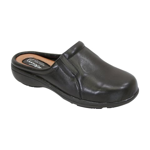 FIC Peerage Women's Mary Black Nappa Leather Extra-wide Clog