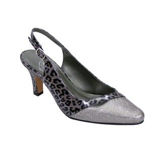 FIC Women's Anna Grey Floral Polyurethane Extra-wide Heels