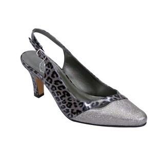 FIC Women's Anna Grey Floral Polyurethane Extra-wide Heels