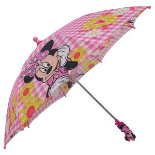 Disney Minnie Mouse Boutique Pink and White Polyester Gingham Flower Umbrella