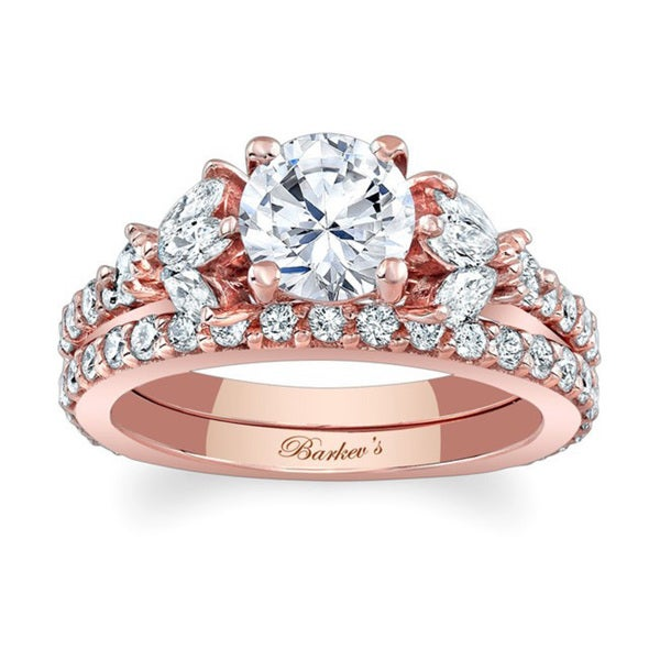 Barkev's Designer 14k Rose Gold 1 1/3ct TDW White Diamond Bridal Set