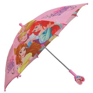 Disney Princess Girls Together We are Strong Pink Polyester Heart-shaped Handle Umbrella