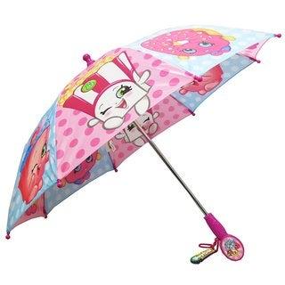 Shopkins Girls' Pink and Blue Plaid Polyester Umbrella