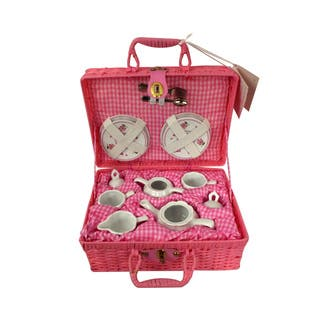 SEAICH Pink Country Flowers Children's Tea Set for Two With Basket|https://ak1.ostkcdn.com/images/products/13817529/P20464919.jpg?impolicy=medium