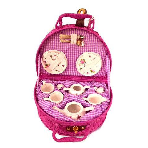Delton Products Butterfly Tea Set with Basket