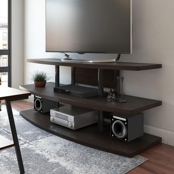 Porch & Den Ellen Espresso/ Black TV Stand with Divided Shelves