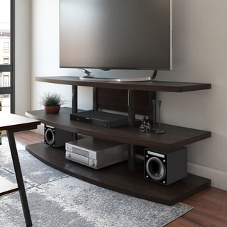 Ameriwood Home Castling Espresso/ Black TV Stand with Divided Shelves for TV's up to 70 inches