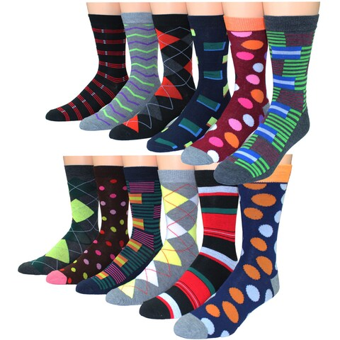 Men's Frenchic Premium-quality Patterned Casual Dress Socks (Pack of 12 Pairs)