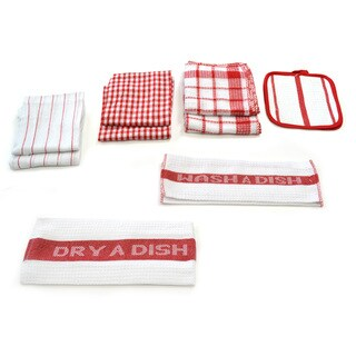 Home Basics Utility 17-piece Kitchen/ Dish Towel Set (Option: Red)