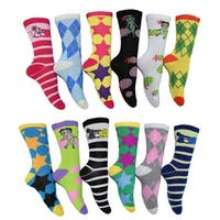 Frenchic Women's Multicolor Patterned Crew Socks (Pack of 12 Pairs)