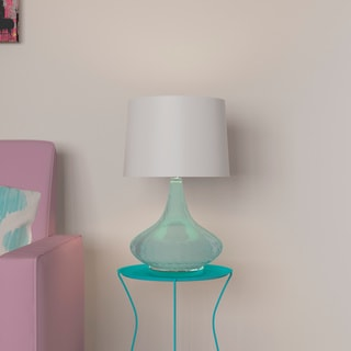 Elegant Designs Light Blue Glass Fabric Shade Table Lamp