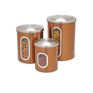 Honey-Can-Do 3pk metal storage canisters, copper