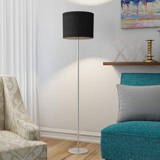 Simple Designs Brushed Nickel Iron and Black Fabric Drum Shade Floor Lamp