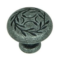 Stone Mill Hardware Grey Zink Swedish Iron Leaf Cabinet Knob (Pack of 10)