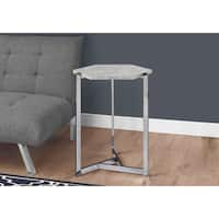 Grey Cement/Chrome Metal Hexagon Accent Table
