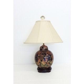 Golden Tassels Multicolored Porcelain Cover Jar Table Lamp