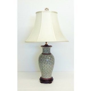 French Lattice Porcelain Table Lamp
