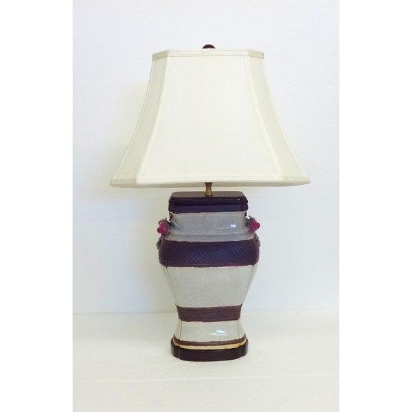Chevron Provencal Porcelain Table Lamp