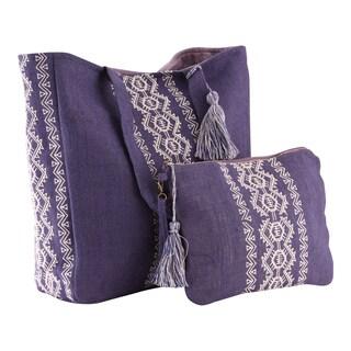 Violet and Beige Tote/Beach Bag Set