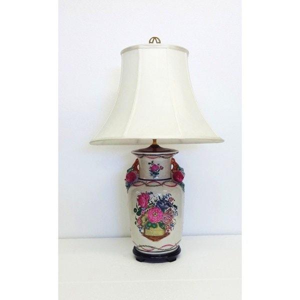 Festive Floral Basket Multicolor Porcelain Vase Lamp