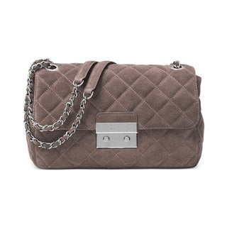 MICHAEL Michael Kors Sloan Grey Leather Large Quilted Shoulder Flap Cinder Bag