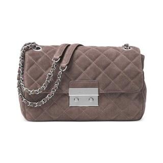 MICHAEL Michael Kors Sloan Grey Leather Large Quilted Shoulder Flap Cinder Bag
