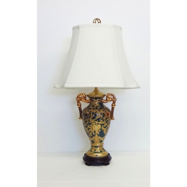 Green and Gold-tone Scrolls Porcelain Trophy Lamp