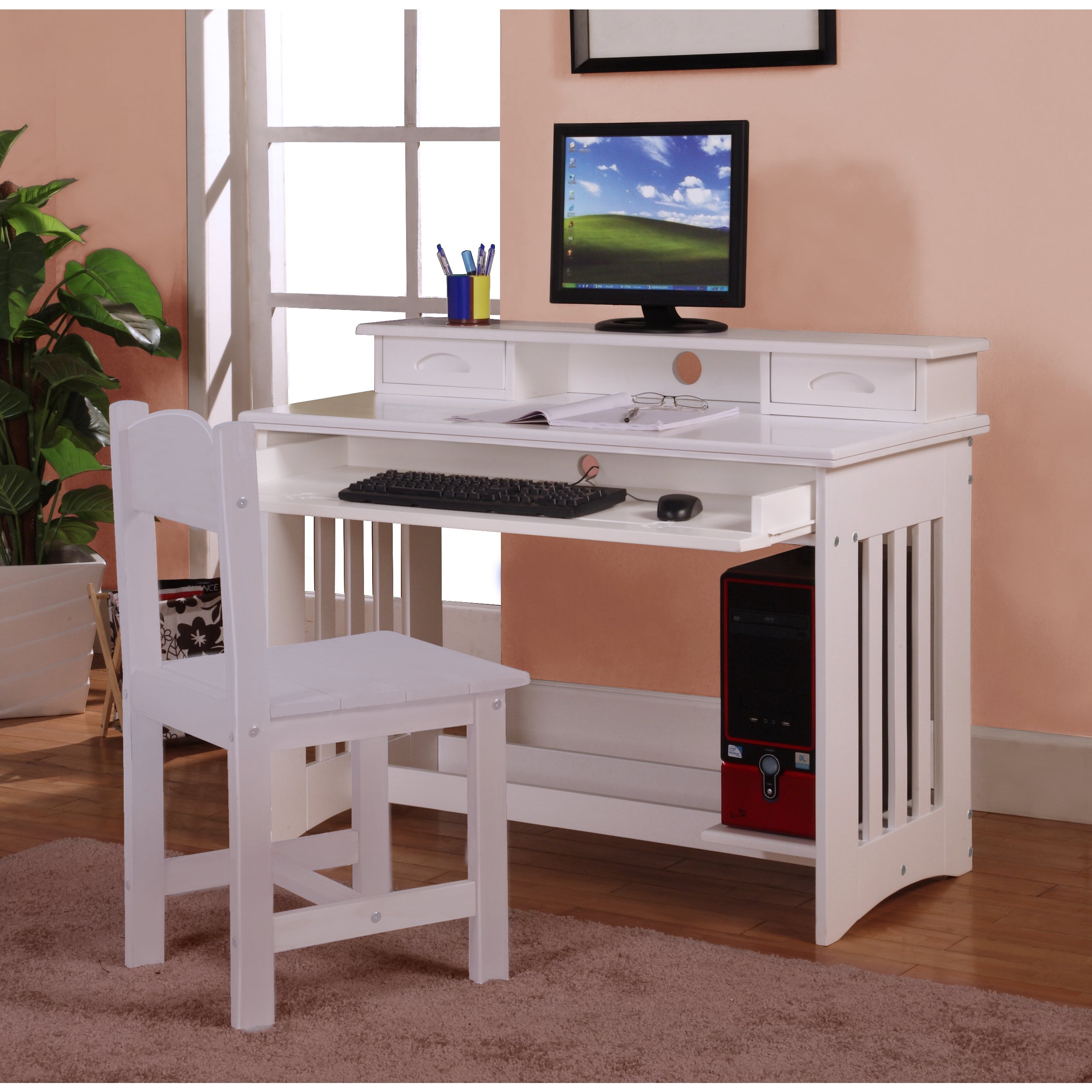 Picture of: White Wood Writing Desk With Keyboard Tray Overstock 13817705