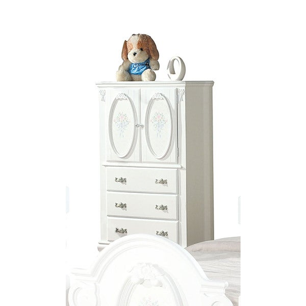 Acme Furniture Flora White Wood TV Armoire With Hanging Rod