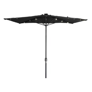Trademark Innovations Polyester and Steel 5-foot LED Rectangular Patio Half Umbrella
