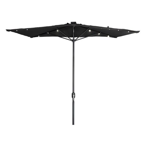 Trademark Innovations Polyester And Steel 5 Foot LED Rectangular Patio Half  Umbrella