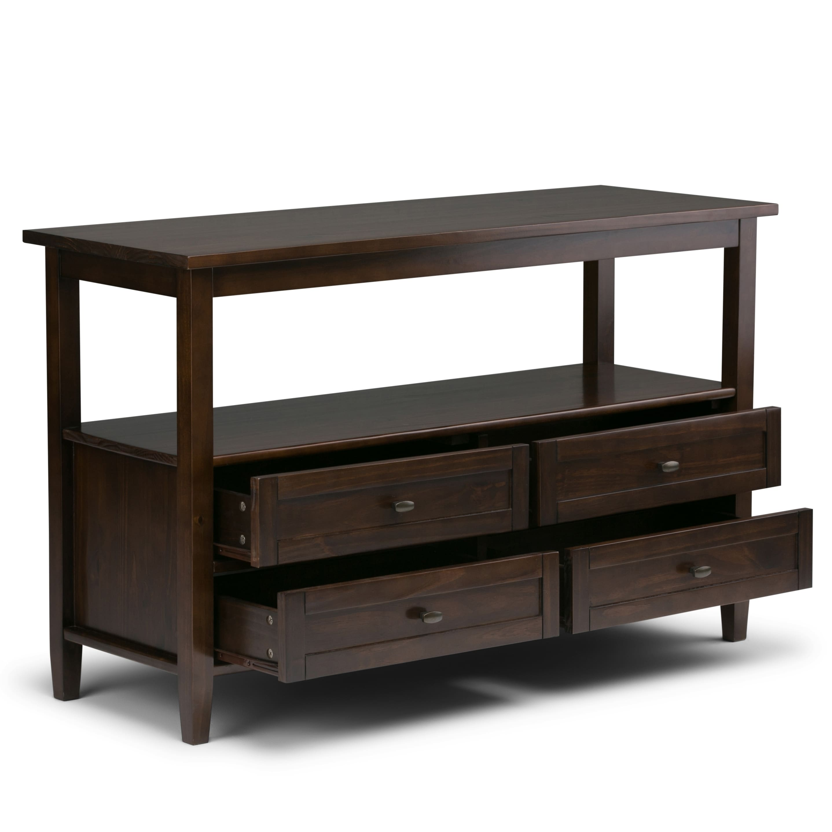 Wyndenhall Norfolk Solid Wood 48 Inch Wide Rustic Console Sofa Table 48 Inches Wide Overstock 13817754 Distressed Grey