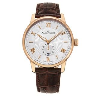 Alexander Men's Swiss Made Regalia Brown Leather Strap Watch
