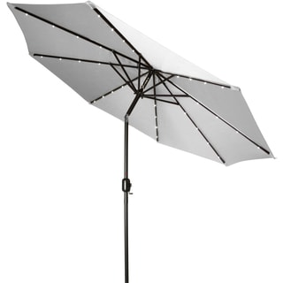 Trademark Innovations Grey Polyester/Steel 9-foot Deluxe Solar-powered LED Lighted Patio Umbrella