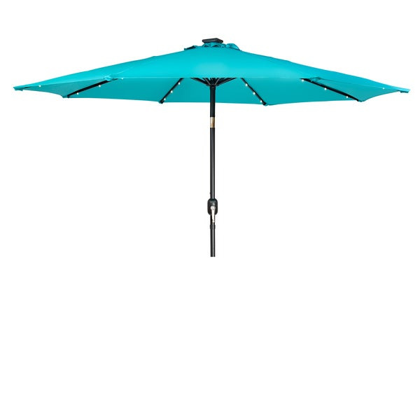 Led Patio Umbrella Reviews: Shop Trademark Innovations Peacock Blue Polyester 9-foot