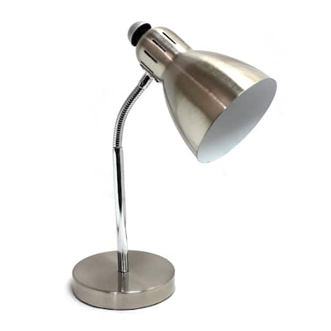 Simple Designs Brushed-nickel Metal Semi-flexible Desk Lamp - Silver