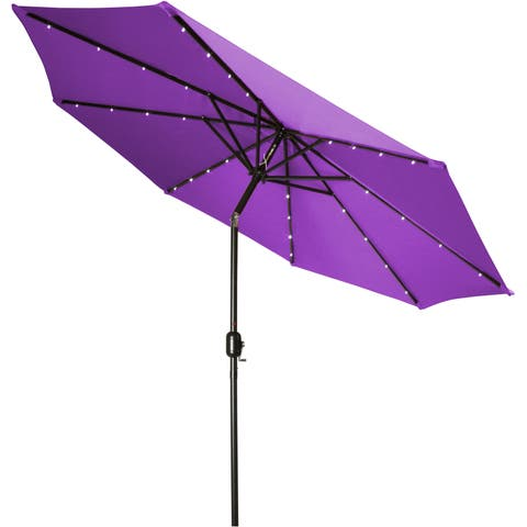 Trademark Innovations Purple Polyester and Steel 9-foot Deluxe Solar-powered LED-lLighted Patio Umbrella