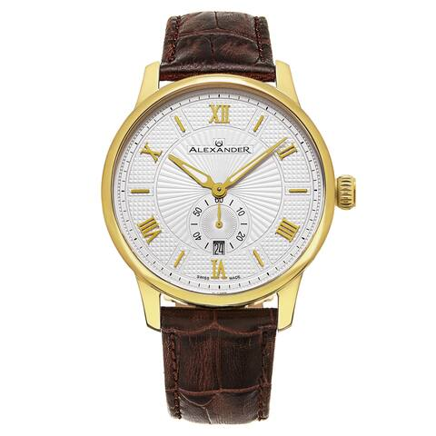 Alexander Men's Swiss Made Regalia Brown Leather Strap Watch