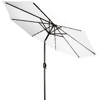Trademark Innovations White Polyester Aluminum 9-foot Deluxe Solar Powered LED Lighted Patio Umbrella
