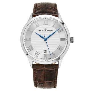 Alexander Men's Swiss Made Triumph Brown Leather Strap Watch